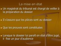 LA PROCÉDURE DE MISE EN ÉTAT/ INSTRUCTION PRÉALABLE DE L'AFFAIRE AVANT L'EXAMEN DU DOSSIER AU FOND